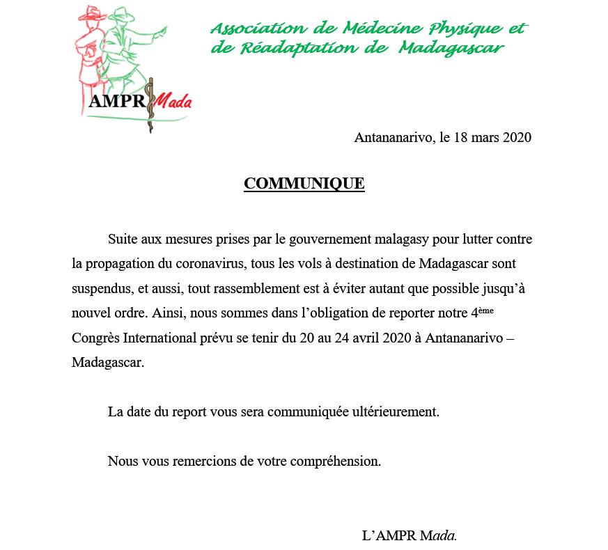 Communiqué AMPR Mada COVID-19